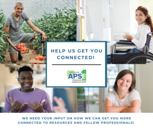 Photo of white man picking vegetables, white woman in wheelchair, black man speaking in sign language, white woman with down syndrome. Help Us Get You Connected WY APSE