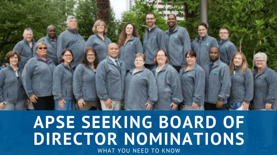 Photo of 2017 board with title stating APSE seeking board of director nominations.