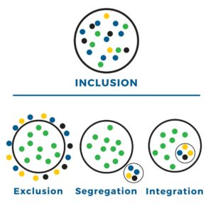 Chart showing inclusion, exclusion, segregation, and integration