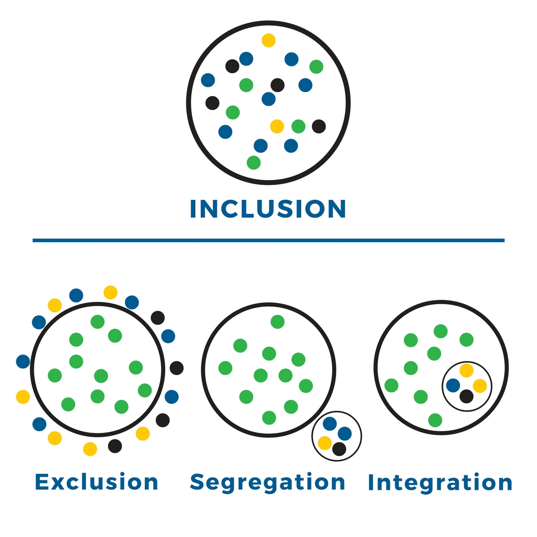 Chart showing inclusion as many colored dots together in a circle; exclusion with all green dots in the center but other colors along the outside; segregation as green dots in the main circle with other colors in a separate, smaller circle; integration as a small circle