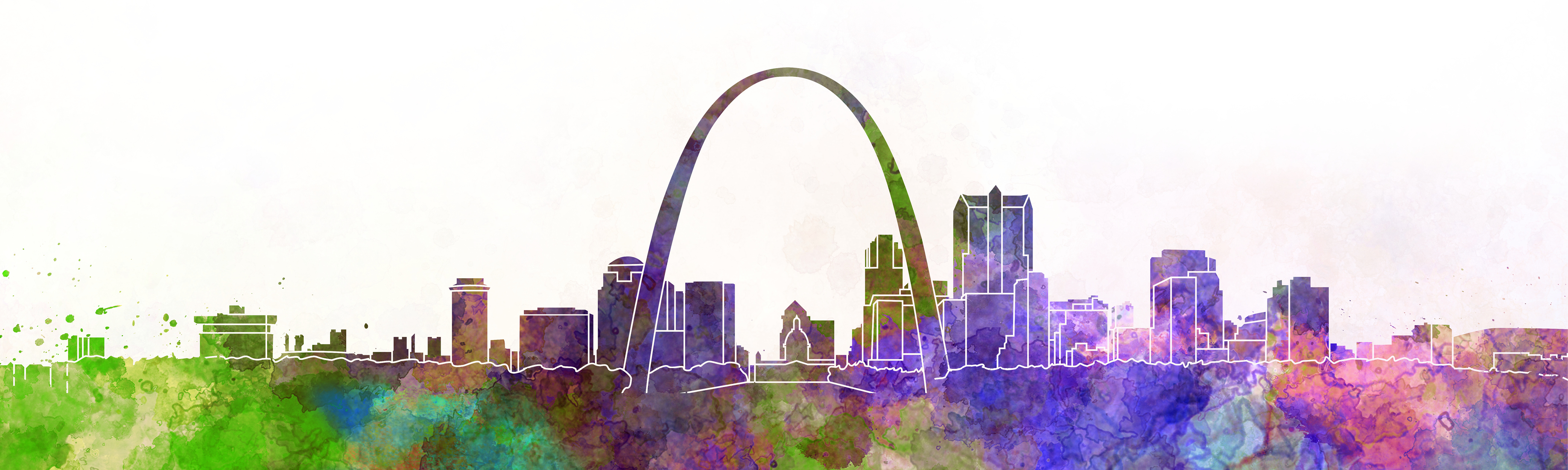 St Louis skyline in watercolor effect, shows the arch and buildings in green, purple, pink, and blue.