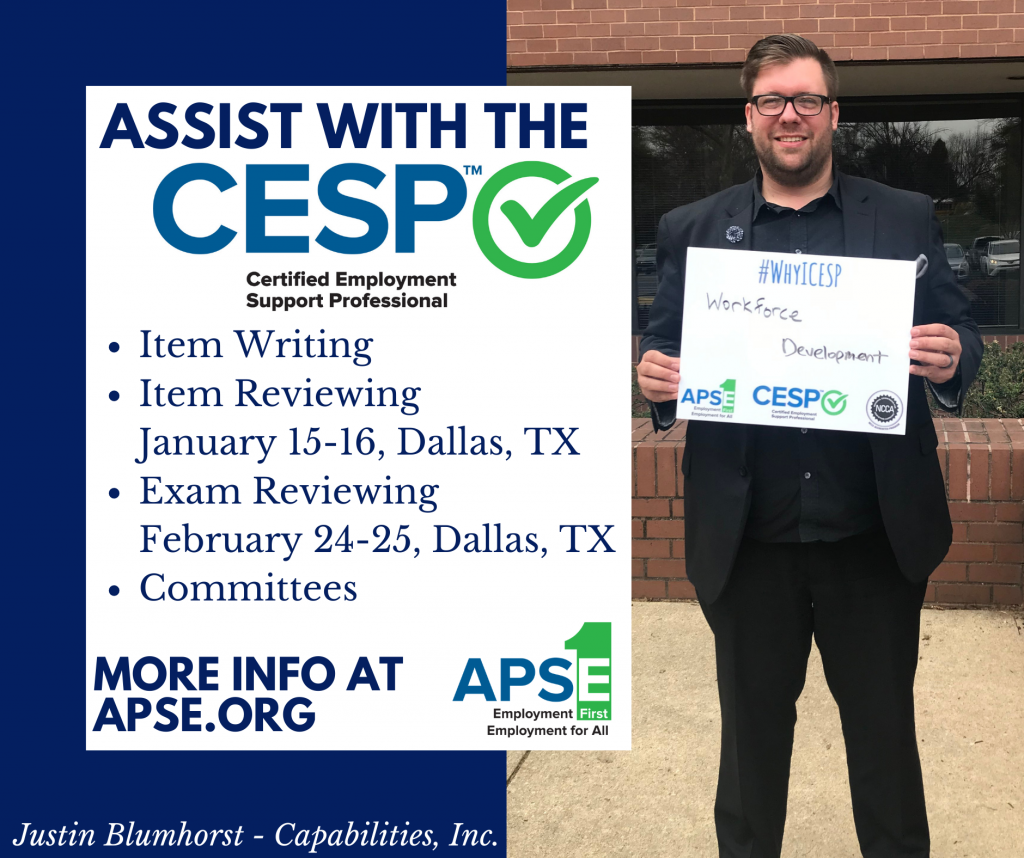 """Justin Blumhorst of Capabilities holding a sign """"Why I CESP"""" that says """"Workforce development."""""""