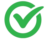 Green checkmark in a green circle.