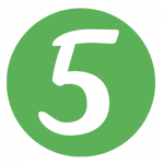 "A white ""5"" in a green circle."