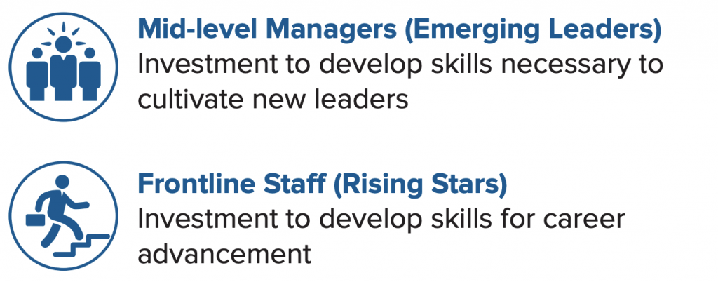 Mid-level managers (emerging leaders); Frontline staff (rising stars).