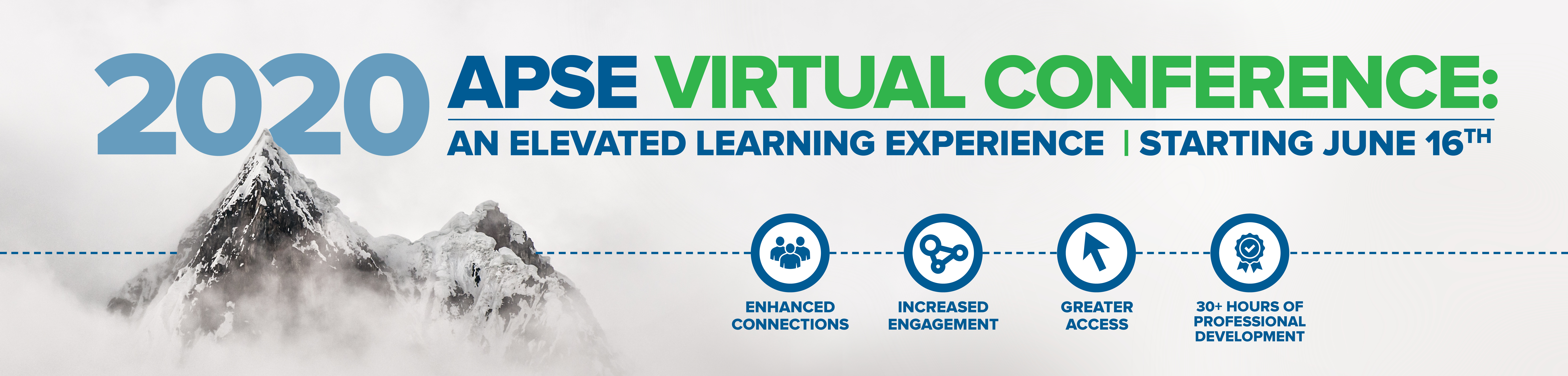 Mountain in clouds. Text: APSE Virtual Conference: An Elevated Learning Experience, Starting June 16.