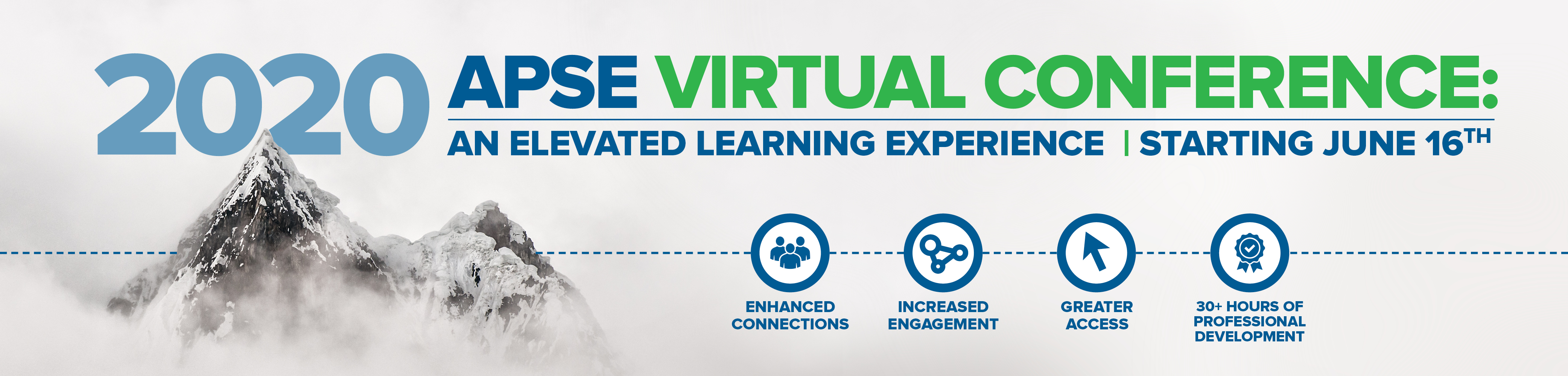2020 APSE Virtual Conference: An Elevated Learning Experience. Starting June 16. A mountain in clouds.