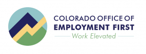 Colorado Office of Employment First - Work Elevated. Logo is a mountain with a yellow trend line up and to the right.