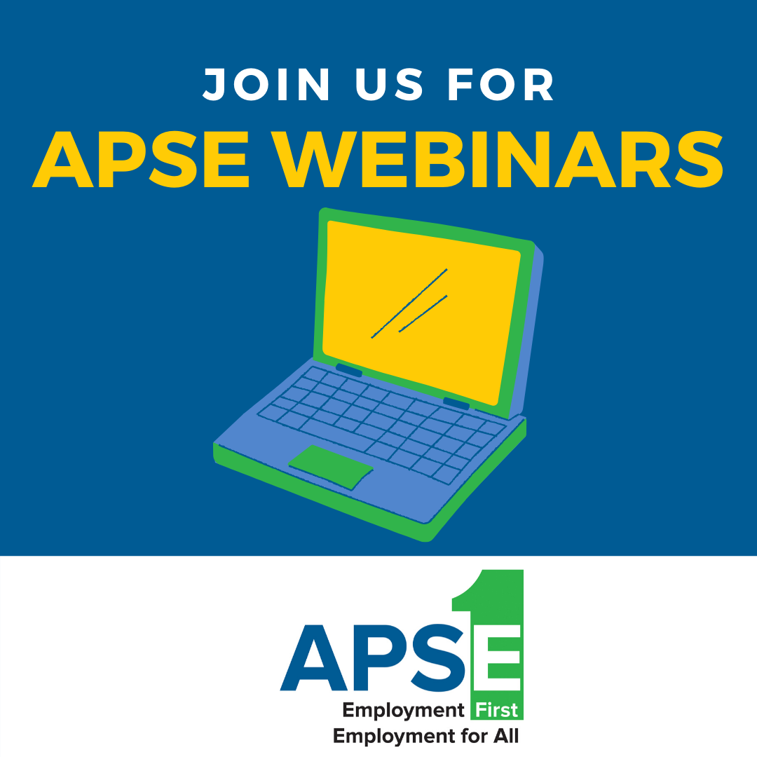 Join Us for APSE Webinars: with a computer image.