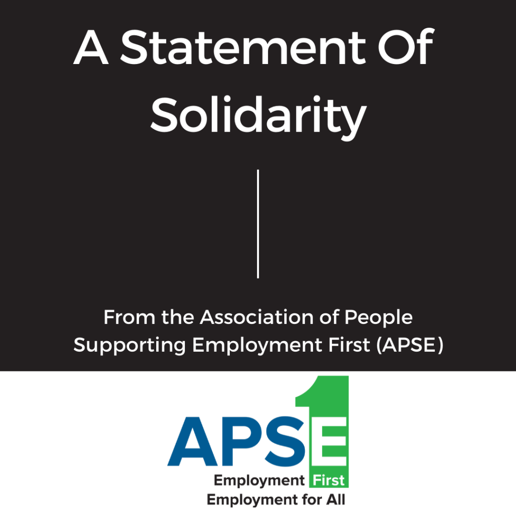 A statement of solidarity from APSE. Black background. APSE logo.