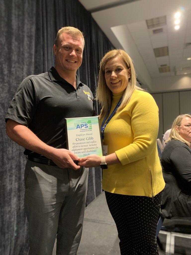 Chase Gibb being awarded the Iowa APSE employer award 2019.