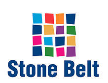 A square made up of smaller squares in different colors. Stone Belt logo.