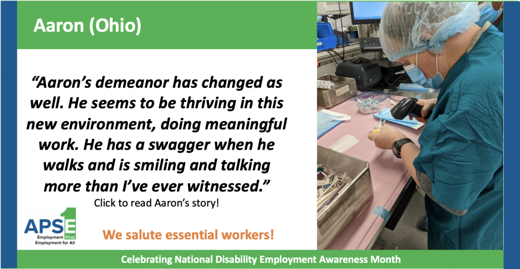 """Aaron's demeanor has changed as well. He seems to be thriving in this new environment, doing meaningful work. He has a swagger when he walks and is smiling and talking more than I've ever witnessed."""
