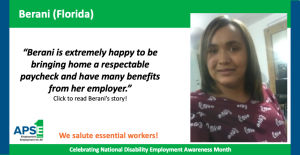 """""""Berani is extremely happy to be bringing home a respectable paycheck and have many benefits from her employer."""" Click to read Berani's story!"""