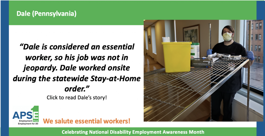 """""""Dale is considered an essential worker, so his job was not in jeopardy. Dale worked onsite during the statewide Stay-at-Home order."""" Click to read Dale's story!"""