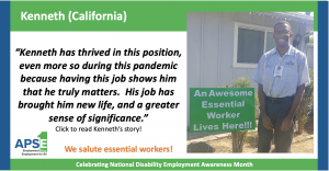 """""""Kenneth has thrived in this position, even more so during this pandemic because having this job shows him that he truly matters. His job has brought him new life, and a greater sense of significance."""" Click to read Kenneth's story!"""