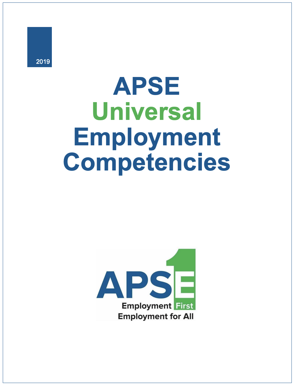 Front page of the APSE Universal Employment Competencies.