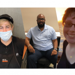 Images of 5 APSE members shown. Left to right: One white man pushing a cart. A white woman wearing a mask and a Taco Bell uniform. A Black man sits at his desk smiling. A white woman with a sunset behind smiles. A Latinx man wearing a mask smiles at camera holding up his paycheck.