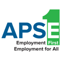 """APSE logo. A green 1 behind the """"E"""". Text: Employment First, Employment for All."""