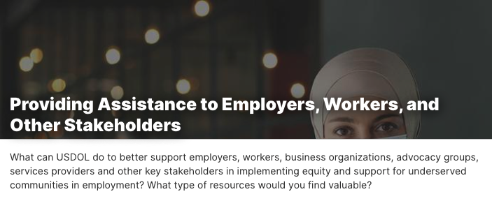 Providing Assistance to Employers, Workers, and Other Stakeholders. A woman wearing a headscarf.