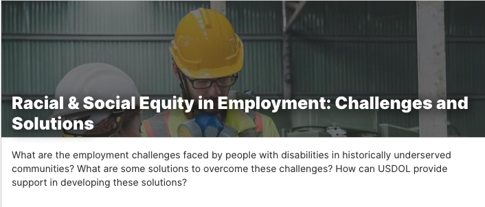 Equity in Employment: Challenges and Solutions. Shows a man with a hard hat in a photo.