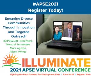 Laptop showing 3 presenters, 2 Black men, 1 white woman.