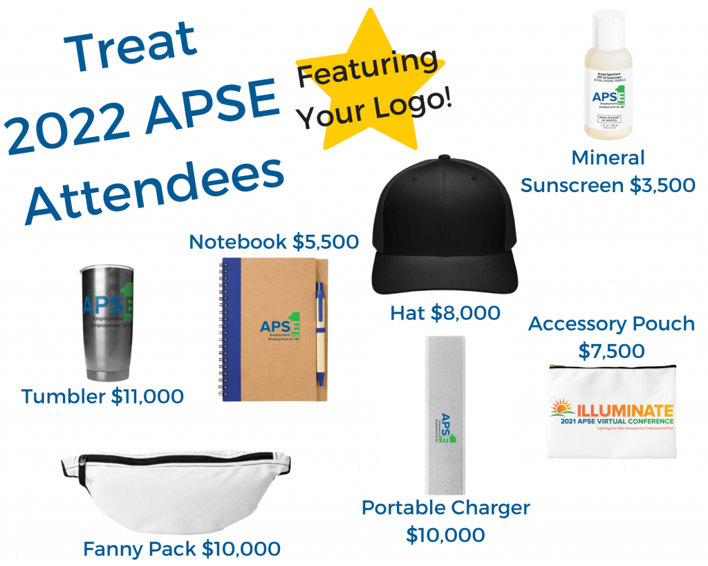 Treat APSE Attendees! With images of potential sponsorship options for swag. Reach out for any customized packages.