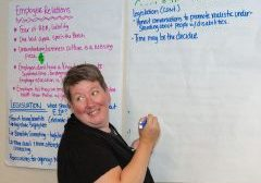 Person with sticky chart writing