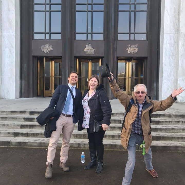 Ryley Newport, Gabrielle Guedon and Ross Ryan on the steps of the Oregon State Capitol